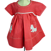 Vintage Ideal Shirley Temple Scotty Dress, Ideal 1930's