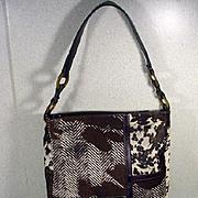 Longchamp Stenciled Fur and Leather Handbag, Paris