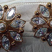 Napier Rhinestone Clip On Earrings, 1990's