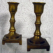 SOLD Miniature Antique Pair of Brass Candlesticks (Great French Fashion Doll Accessory)