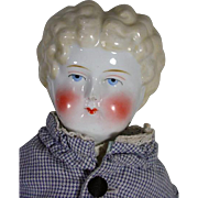"Antique China Head Doll 23"" Tall in Wonderful Antique Clothing, 1800's"