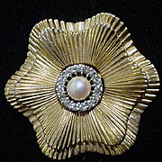 Vintage Jomaz Goldtone Flower Brooch with Pearl and Rhinestone Center, 1950's