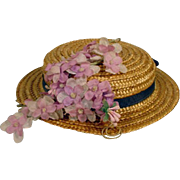 Vintage Straw Doll Hat with Flower Trim, 1950's