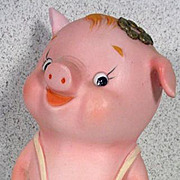 Vintage Porcelain Piggy Bank, Adorable!