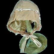 Vintage Rayon Crepe Doll Bonnet, 1920's