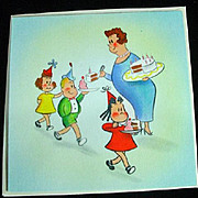 Vintage 1944 Hallmark Little Lulu Birthday Card!