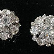 Vintage 1950's Kramer Rhinestone Clip On Earrings