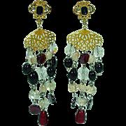 1980's Runway Poured Glass Chandelier Earrings
