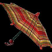 Vintage Plaid Doll Umbrella, 1940's