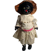 Antique English, Black Bisque Doll Circa 1920