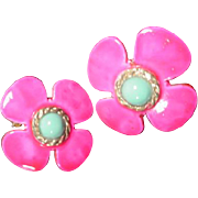 Vintage Enamel Flower Earrings by Hobe, 1960's
