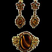REDUCED Juliana/D & E Faux Tortoise Clamper Bracelet and Earrings
