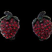 SALE Weiss Vintage Japanned Strawberry Rhinestone Earrings