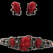 Fabulous Vintage Selro Bracelet and Earrings - Book Piece