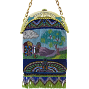 REDUCED Figural Egyptian Revival Beaded Purse