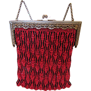 REDUCED Vintage Knit Beaded Purse - Price Reduction