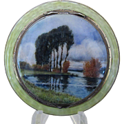 Sterling Silver and Guilloche Enamel Scenic Compact
