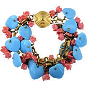 Vintage Glass and Metal Charm Bracelet