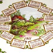 SALE Arizona Country Scene Calendar Plate 1911 Dresden China