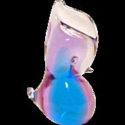 Blue Purple and Clear Murano Blown Glass Bird Figurine