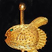 Castlecliff Puffer Fish Carousel Brooch Rhinestone Eye