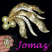 Vintage Jomaz Pave Rhinestone Faux Pearl Brooch and Earring