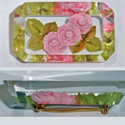 Floral Reverse Carved Pink Roses Lucite Brooch Eight Sided