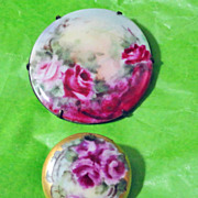 Hand Painted Porcelain Roses Brooches