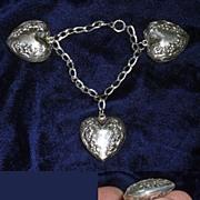 SALE Art Nouveau Sterling Silver Puffed Heart Charm Bracelet for Petit Wrist