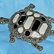 Vintage Sterling Silver Turtle Brooch Marcasite and Enamel Fully Articulated