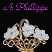 Trifari Alfred Philippe Basket Flowers Brooch 1951