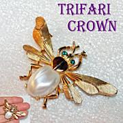 Trifari Crown Fly Brooch Green Rhinestone Eyes Faux Mother of Pearl Body