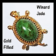 Winard Genuine Jade 12K Gold Filled Turtle Pin