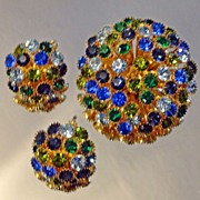 Blue and Green Domed Rhinestone Brooch Earrings Demi