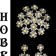 Hobe Rhinestone Simulated Faux Pearl Flower Cluster Demi Parure