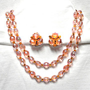 Hobe Pink Aurora Borealis Oval Crystal Necklace and Clip On Earrings  WOW!!!