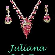 REDUCED Juliana D & E  PInk Fuchsia Rhinestone Necklace Earrings Demi  Book Piece