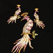 Peacock Rhinestone Enamel Brooch Pierced Earrings God Plated Demi  Huge