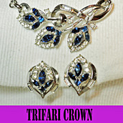 Trifari Crown Sapphire Blue Clear Rhinestones Necklace Earrings Set Demi by Alfred Philippe