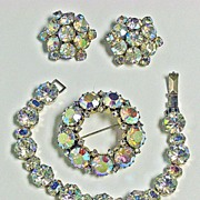 Vintage Weiss Aurora Borealis Rhinestone Bracelet Brooch Earrings Set