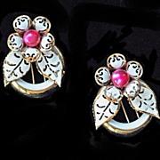 Lucite Pink Moonstone Enamel Flower Fur Clips