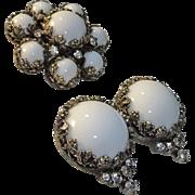 Kramer White Milk Glass Rhinestone Brooch Earrings Set