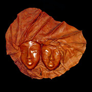 Vintage Double Image Leather Wall Sculpture Face Mask Huge