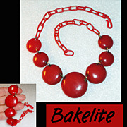 Bakelite Cherry Red Disc Necklace Celluloid Chain