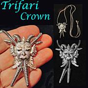 Trifari Crown Bacchus Dionysus Slide Lariat Necklace