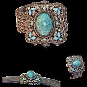 Antique Victorian Gold Wash Turquoise Art Glass Cabochon Enamel Flower Bracelet