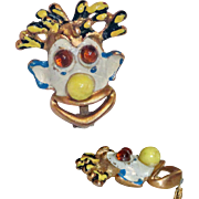 Enamel 3D Mardi Gras Clown Face Brooch