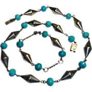 Taxco Sterling Silver Turquoise Bead Necklace Bracelet  Set Signed ERE Demi