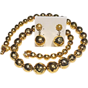 Crown Trifari Large Chunky Gold Plated Beads Long Necklace and Dangle Earrings