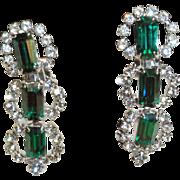 Kramer Emerald Green Baguette Clear Chaton Rhinestone Dangle Earrings